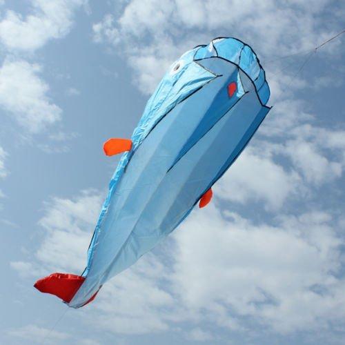 Huge Parafoil Giant Dolphin 3D Kite Frameless Soft Blue 100 line Easy to Fly