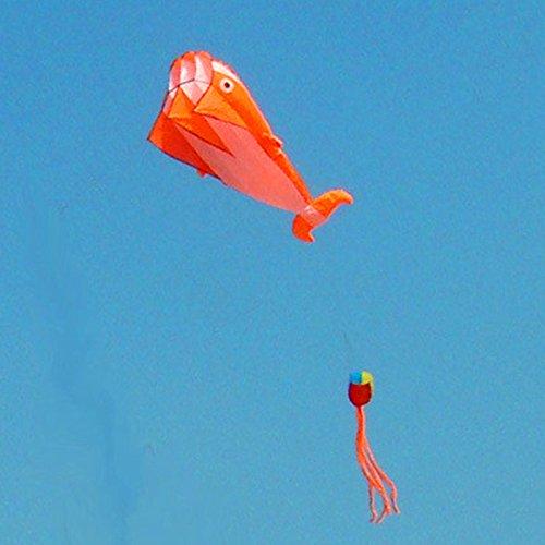 KENGELÂ ORANGE 3D Kite Huge Frameless Soft Parafoil Giant orange Dolphin Breeze Kite
