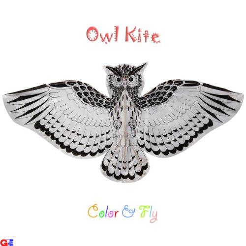 Kids Coloring Kites - Pack of 12 Owl Kites - Handmade Chinese Kites