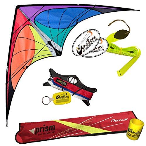 Prism Nexus Dual Line Delta Framed Stunt Kite with 40 Tail Bundle 3 Items  Prism 40ft Ripstop Streamer Tail Yellow  WindBone Kiteboarding Lifestyle Stickers  Key Fob Spectrum