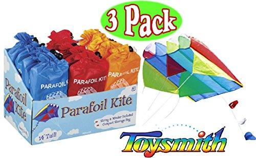 Toysmith Parafoil Kites Red Blue Orange Gift Set Bundle - 3 Pack