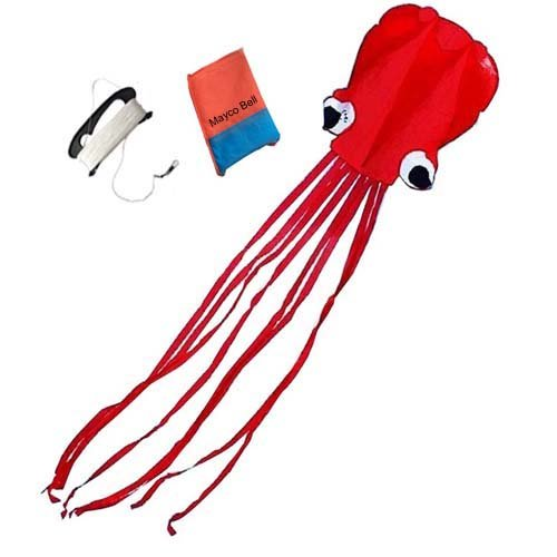 Mayco Bell Red Octopus Portable Kite Nylon Polyester Material - Perfect Toy for Kids And Children Outdoor Games Activities - Fold-able Large 28 x 157 Inches  Extra 328 Feet Of Line