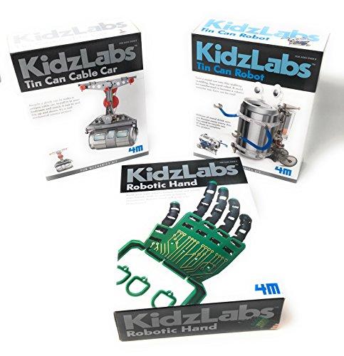 KidzLabs Robot Toys Science Experiments for Kids Tin Can Robot Robotic Hand Tin Can Cable Car - Science Kits for Kids - Robot - Robotics for Kids 4M MTGS