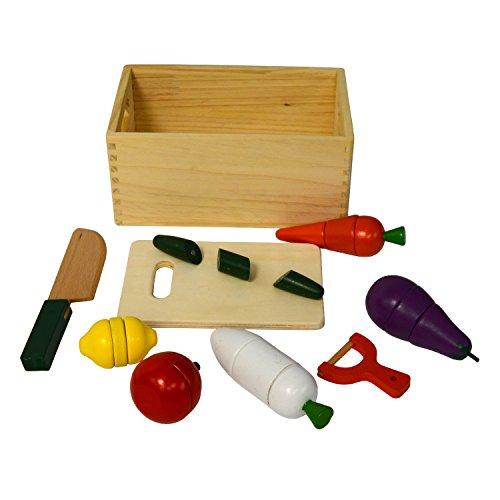 Children Wooden Toy Pretend Play Magnetic Vegetable Cutting 21 Piece Kitchen Set