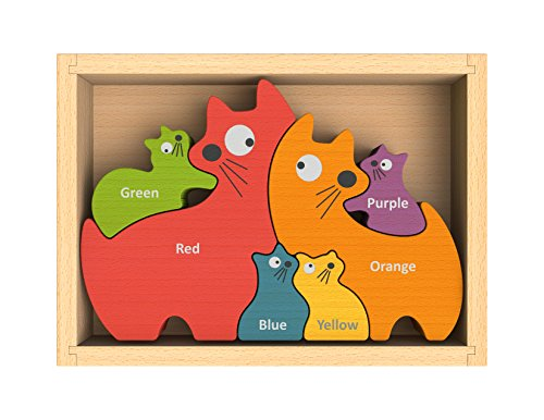 BeginAgain Cat Family Puzzle with Curriculum - Puzzle Game for Playing Stenciling AND as a Bilingual Learning Tool - Great Educational Toy for Toddlers - Wooden Toy Childrens Puzzle