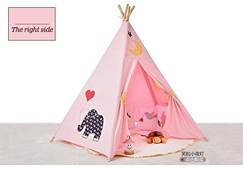 Sangdo Children Lovely Cartoon Canvas Teepee Kid Play Tent Pink Playhouse Inoutdoor