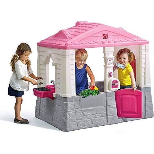 SupremeToys Cottage Playhouse Pink Kids Outdoor Playhouses Indoor Playset Backyard Playground Girls Children Fun Toy Garden House New