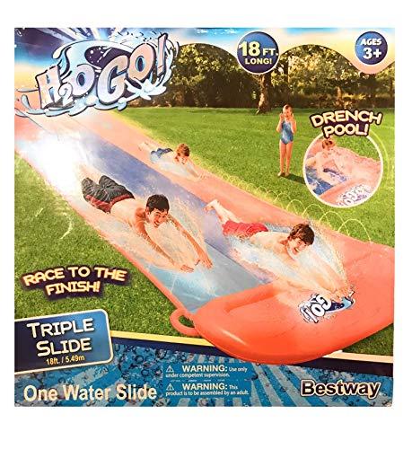 H2OGo 18 Long Triple Water Slide Including Drench Pool