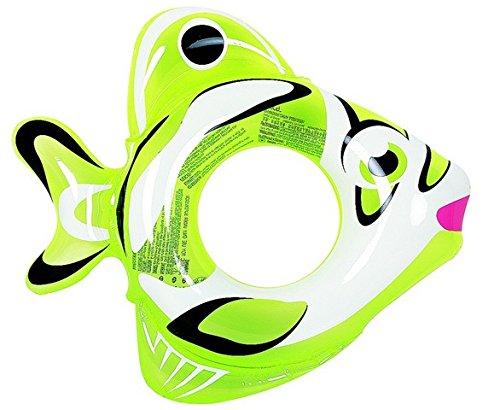NorthLight Inflatable Fish Childrens Swimming Pool Swim Ring Inner Tube44 Green White - 34 in