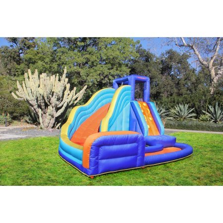 Sportspower Big Wave Inflatable Water Slide  Large Water Slide that Leads to a Splash Pool Inflatable Bounce House Air Blower Included