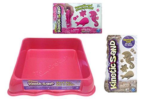 Kinetic Sand GIFT SET Includes 12 lbs of Neon PINK Sand 15 lbs of BROWN Sand and Neon PINK Sand Box