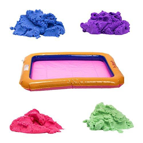 Sculpting Kinetic Sand Art Kit - Inflatable IndoorOutdoor Sandbox - 4 lbs of Colored Sand