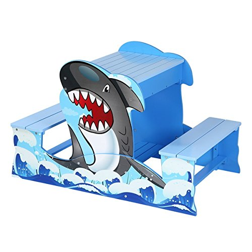 Kids Shark Wood Picnic Table and Sandbox Play Set