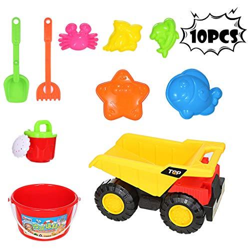 cnnIUHA 10Pcs Kids Beach Sand Toys Set Sand with Trucks Beach Molds Beach Bucket Beach Shovel Tool Kit Sandbox Toys for Toddlers Sandbox Toys On Summer Beach HolidayShipped from USA