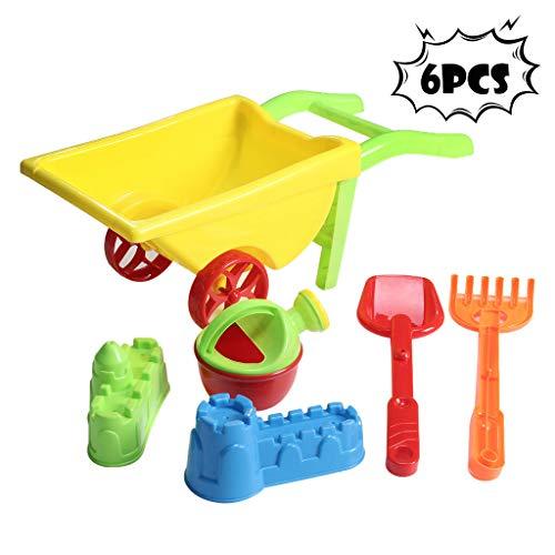 cnnIUHA 6Pcs Kids Beach Sand Toys Set Sand with Cart Beach Molds Beach Bucket Beach Shovel Tool Kit Sandbox Toys for Toddlers Sandbox Toys On Summer Beach HolidayShipped from USA
