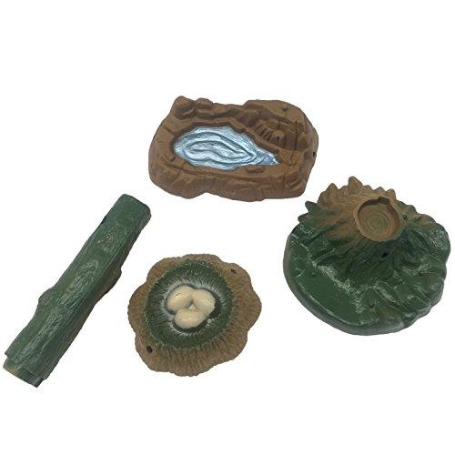 Funshowcase Play Set of Pond Nest Tree Stump Tree Log Fairy Garden Landscape Miniature Sandbox Toy