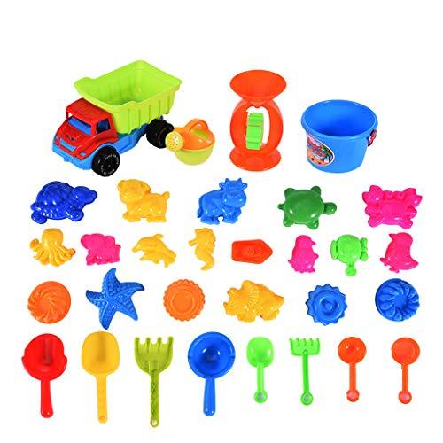 Gmgod❤️❤Childrens Beach Toys31 PCS Kids Beach Model Activity Suite Set Sand Water Wheel Beach Molds Tool