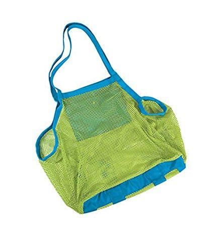 Qingsun Lightweight Mesh Beach Bag Beach Tote bags Baby Collection Nappy Organizer Storage Bag for Children Beach ToysClothesTowelGreen