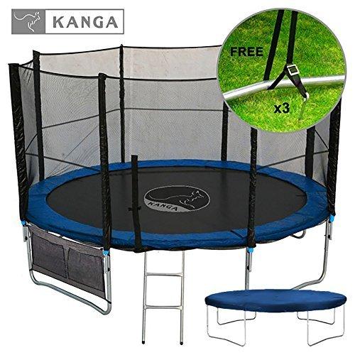 Kanga 12ft Premium Trampoline with Safety Enclosure Net Ladder Anchor Kit Shoe Bag Winter Cover 12ft by Kanga Trampolines