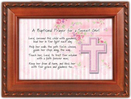 Baptismal Baptism Prayer Girl Woodgrain Inspirational Music Box Keepsake Plays Jesus Loves Me by Cottage Garden