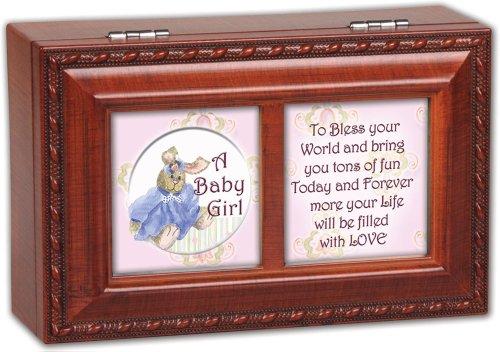 Cottage Garden Baby Girl Woodgrain Petite Music Box  Jewelry Box Plays Brahms Lullaby