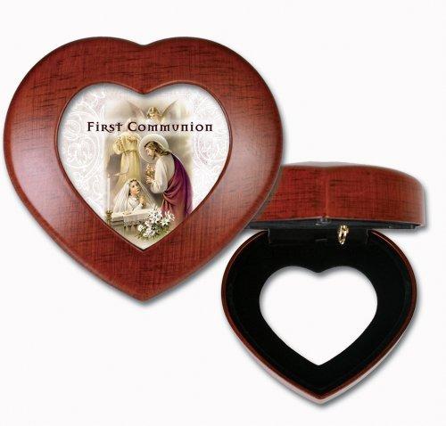 First Communion Praying Girl Woodgrain Mini Heart Music Box  Jewelry Box Plays Ave Maria