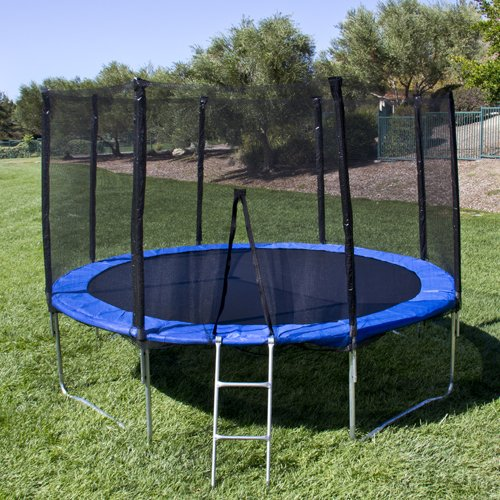 Best Choice Products 12 Round Trampoline Set 4 legs W Frame Blue safety Pad Netting Ladder
