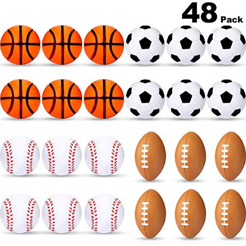 Mini Stress Balls Sports Stress Balls Including Soccer Ball Basketball Football Baseball Foam Balls for Party Favor Toy 48 Pieces