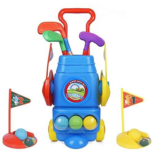 ToyVelt Kids Golf Club Set - Golf CartWith Wheels 3 Colorful Golf Sticks 3 Balls 2 Practice Holes - Fun Young Golfer Sports Toy Kit for BoysGirls - Promotes Physical Mental Development