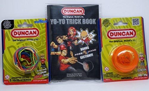 Duncan YoYo Kit - Imperial Orange Yo-Yo Mult-Color Yo-Yo String 5 Pack and Yo-Yo Trick Book