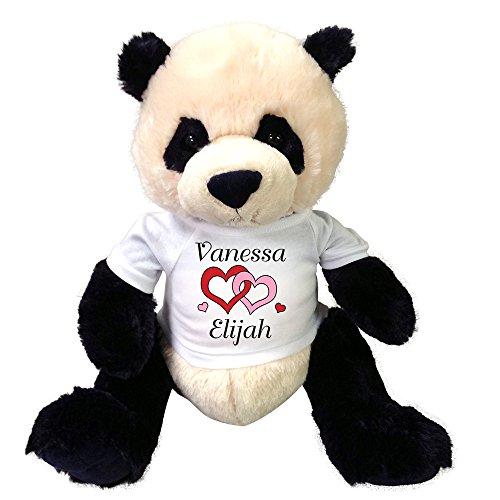 Personalized Valentine Panda Teddy Bear 17 - Love Hearts Design