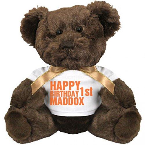Happy First Birthday Maddox Small Plush Teddy Bear