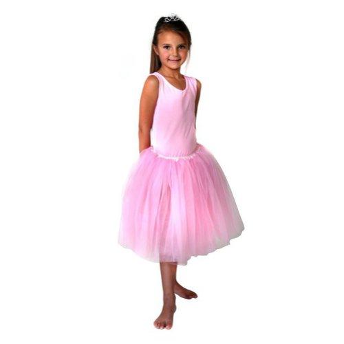Girls 16 Long Pastel Pink Ballerina Tutu