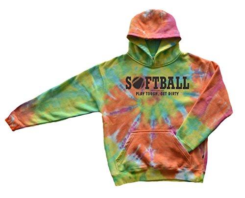 New Softball Play Tough Get Dirty Girls Pastel Tie Dye Sweatshirt YM