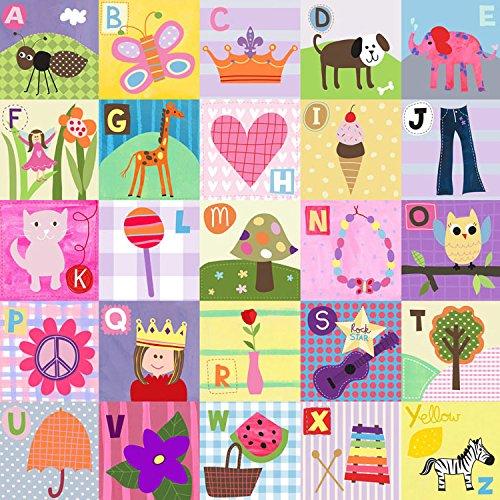 Oopsy Daisy Toos My ABCs - GirlPastel Canvas Wall Art Size 21x21