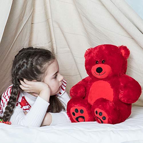 WOWMAX Cuddly Teddy Bear Stuffed Plush Animals Daney Teddy Bear Toy Doll for Birthday Valentines Day Red 10 Inches