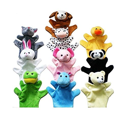 Lanlan 10 Pcs Super lovely Soft Plush Animal Palm Of Hand Puppets Story Props Parent-child Educational Toy For Children 22cm