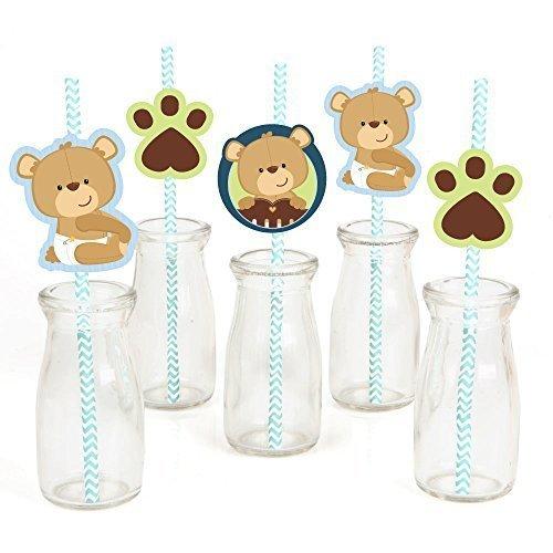 Baby Boy Teddy Bear - Party Straw Decor with Paper Straws - Set of 24