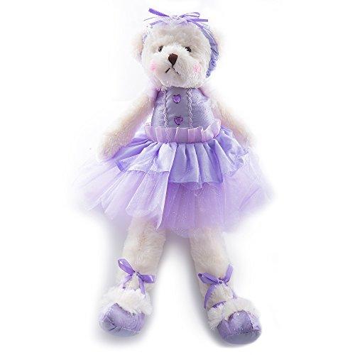 Wewill Super Cute Plush Ballerina Teddy Bear Stuffed Animal Creative Toy 15-Inch Purple