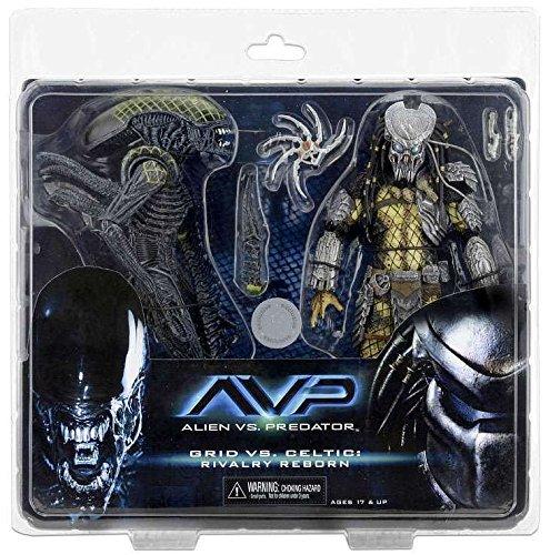 NECA Aliens vs Predator AvP Celtic Predator Battle Damaged Grid Alien Rivalry Reborn Action Figure 2-Pack