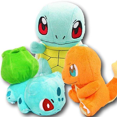 OscarNOtis 3 Piece Set Pokemon Bulbasaur Charmander and Squirtle Stuffed Plush Doll Toys