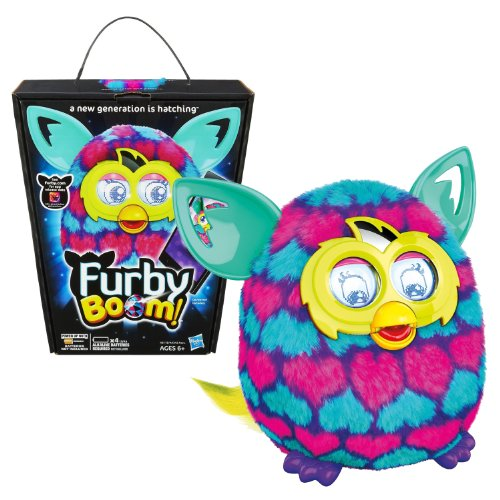Hasbro Year 2013 Furby Boom Series 5 Inch Tall Electronic App Plush Toy Figure - Pink and Blue Love Hearts Pattern FURBY