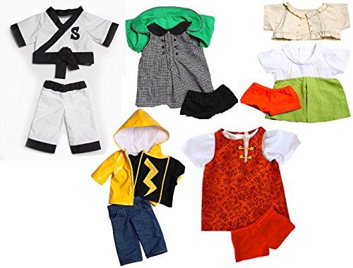 Zylie Shen Five Teddy Bear Outfit Set Karate Uniform Raincoat Dress Sweater Shorts Fits Most 14-18 Build-a-bear Stuffed Animals Clothes Bundle