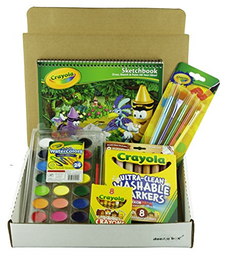 Bundle - Multicultural Art Set In A Doodle Box Crayons Markers Watercolor Paints Brushes and Sketchbook