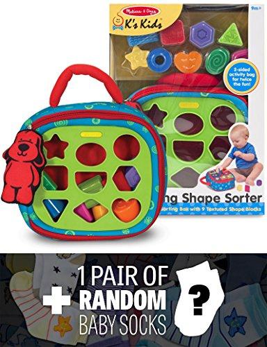Ks Kids Take-Along Shape Sorter Baby Toy  1 FREE Pair of Baby Socks Bundle 91855