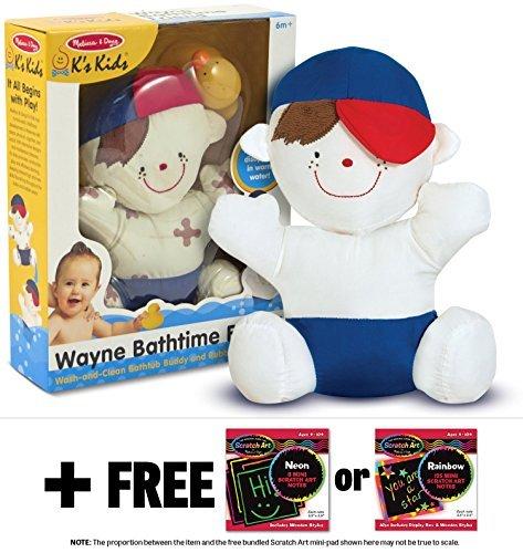 Ks Kids Wayne Bathtime Friend Bathtub Toy  FREE Melissa Doug Scratch Art Mini-Pad Bundle 91886