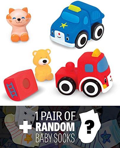 Pop Blocs Vehicles Ks Kids Baby Toy Series  1 FREE Pair of Baby Socks Bundle 91978