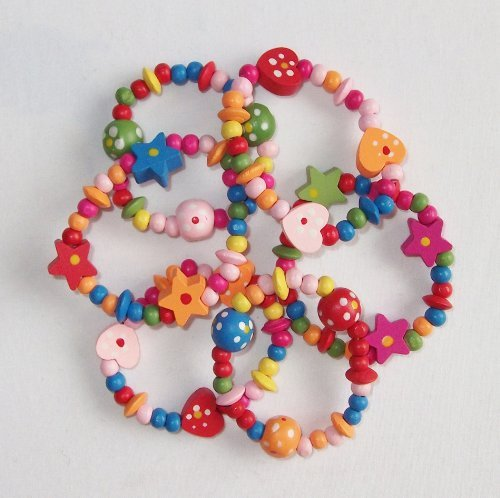 8 x Colourful Wooden Girls Bracelets - Ideal as Goody Loot Party Bag Filler Jewellery by HaSaH