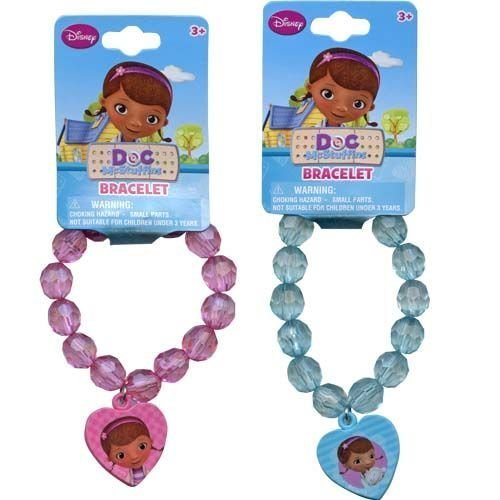 Disney Doc McStuffins Faceted Beaded Girls Bracelet with Heart Charm - Assorted Styles by HER Accessories