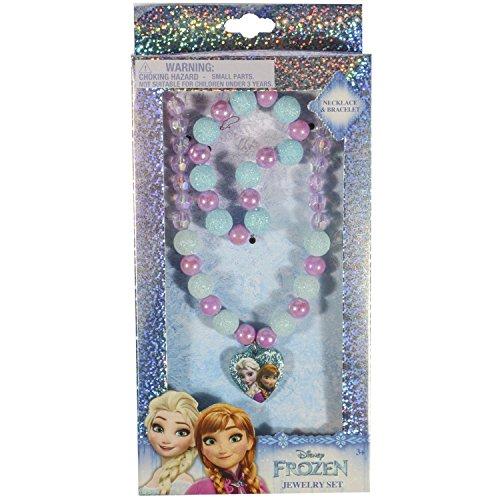 Disney Frozen Girls Kids Jewelry Set Bead Bracelet Bead Necklace Plastic Charm